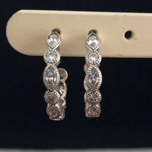 dc171abe5 Pandora Jewelry | Alluring Brilliant Halfhoop Earrings | Poshmark